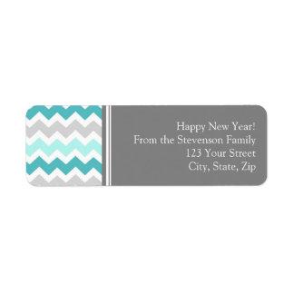 New Year Return Address Labels Grey Blue