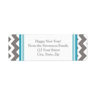 New Year Return Address Labels Grey Chevron