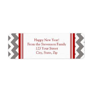 New Year Return Address Labels Grey Red