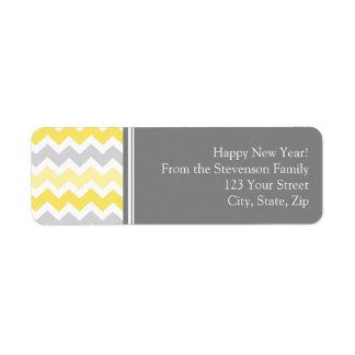 New Year Return Address Labels Grey Yellow