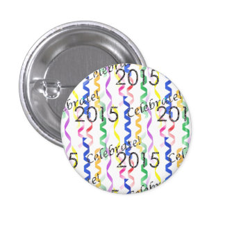 New Year's 2015 Multi Party Streamers on White Pinback Buttons
