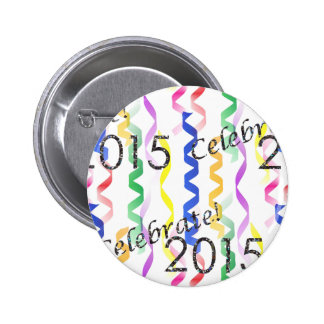 New Year's 2015 Multi Party Streamers on White Buttons
