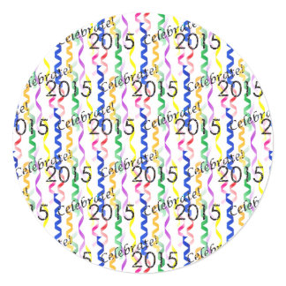 New Year's 2015 Multi Party Streamers on White Card