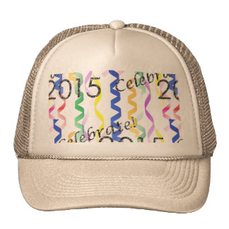 New Year's 2015 Multi Party Streamers on White Hats