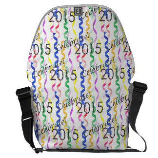New Year's 2015 Multi Party Streamers on White Courier Bags