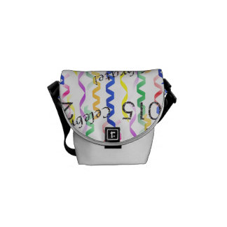 New Year's 2015 Multi Party Streamers on White Messenger Bags