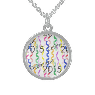 New Year's 2015 Multi Party Streamers on White Round Pendant Necklace