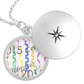 New Year's 2015 Multi Party Streamers on White Round Locket Necklace