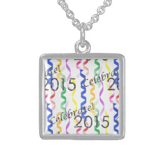 New Year's 2015 Multi Party Streamers on White Square Pendant Necklace