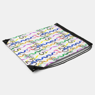 New Year's 2015 Multi Party Streamers on White Drawstring Backpacks