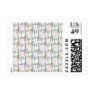 New Year's 2015 Multi Party Streamers on White Stamps
