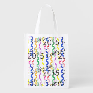New Year's 2015 Multi Party Streamers on White Grocery Bags