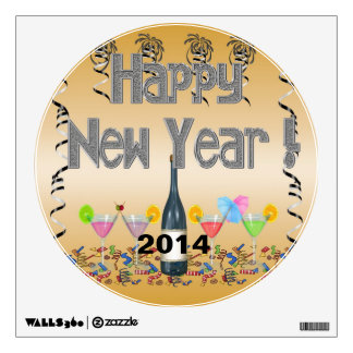 New Year s Cocktails Round Wall Decal