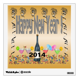 New Year s Cocktails Square Wall Decal