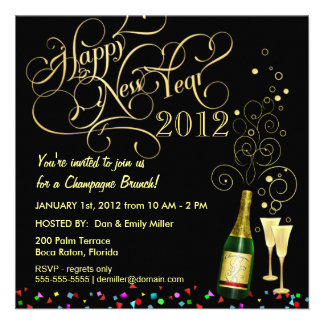 New Year s Day Party - Champagne Brunch Personalized Invite