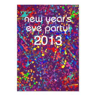 New Year's Eve Party, Action Painting  Art 5x7 Paper Invitation Card