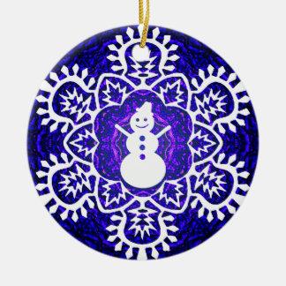 New Year's  Snowflake&Snowman Ceramic Ornament