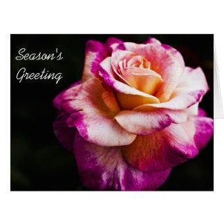 New Year Season's Greeting Purple Rose Card