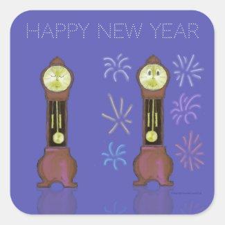 New Year Sleeping/Waking Grandfather Clock sticker