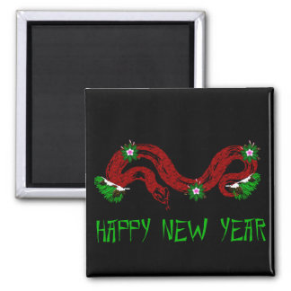 New Year Snake 2 Inch Square Magnet