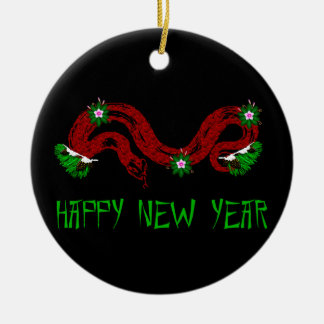 New Year Snake Double-Sided Ceramic Round Christmas Ornament