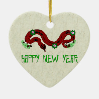 New Year Snake Double-Sided Heart Ceramic Christmas Ornament