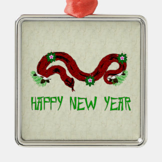New Year Snake Square Metal Christmas Ornament