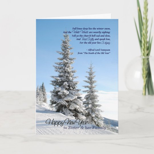new year snow for sister family poem by tennyson holiday card