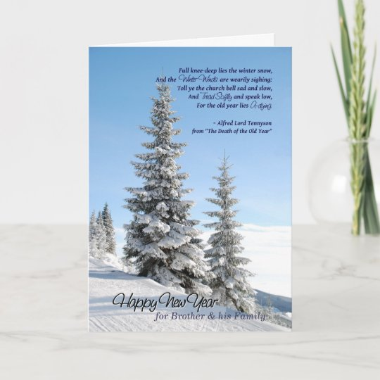new year snow trees brother family tennyson poem holiday card