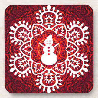 New Year Snowflake&Snowman Drink Coaster