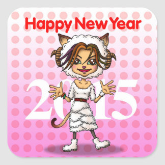 New year square sticker