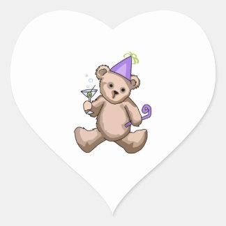 New Year Teddy Bear Heart Stickers