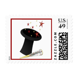 New Year Top Hat and Stars Stamp