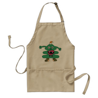 New Year Tree Cute Monster Adult Apron
