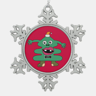 New Year Tree Cute Monster Snowflake Pewter Christmas Ornament