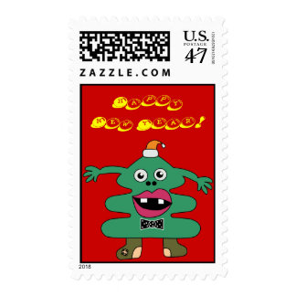 New Year Tree Monster Cute Postage