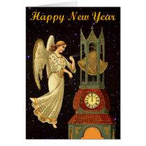 new year vintage angel card