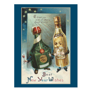 NEW YEAR VINTAGE BEST WISHES POSTCARD