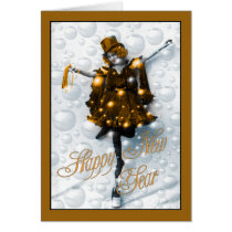 New Year Wishes Vintage Party Girl in Gold Card