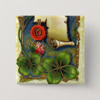 New Year With Four Leaf Clover Pinback Button