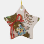 New Year with Pink Bonbon Double-Sided Star Ceramic Christmas Ornament