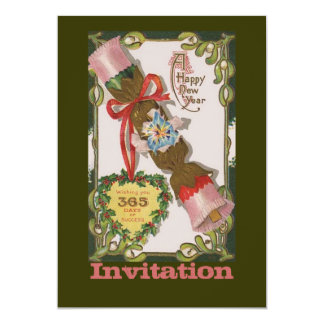 New Year with Pink Bonbon 5x7 Paper Invitation Card