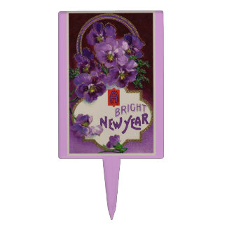 New Year With Purple Flowers Cake Topper