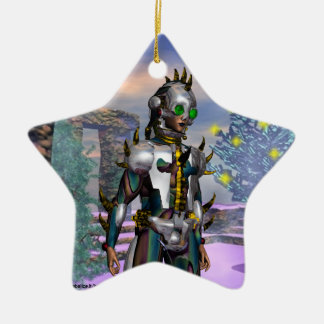 NEW YEAR'EVE OF A CYBORG  Blue Sapphire Star Christmas Ornament