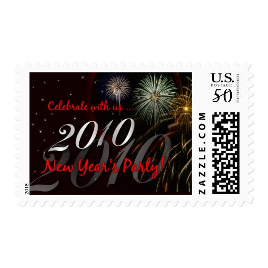 New Year's 2010 Party Invitation Stamps - Medium