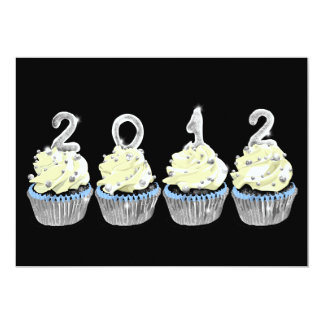 New year's 2012 cupcake invitation
