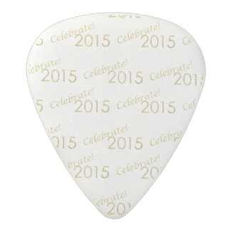 New Year's 2015 Gold Glitter on White Acetal Guitar Pick