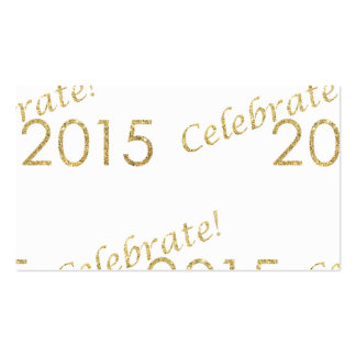 New Year's 2015 Gold Glitter on White Business Card Templates