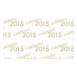 New Year's 2015 Gold Glitter on White Business Card
