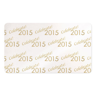 New Year's 2015 Gold Glitter on White Business Card Template